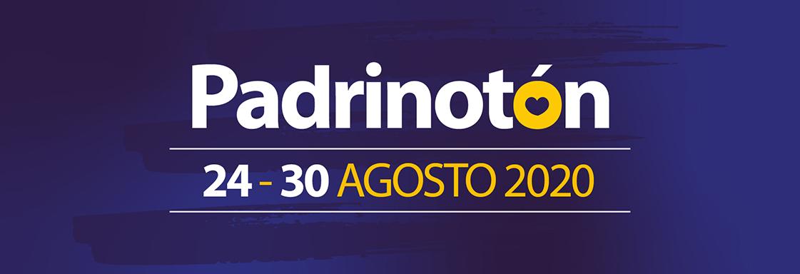 Diseño con fondo azul y texto blanco, con las palabras: PADRINOTÓN, 24 A 30 DE AGOSTO 2020
