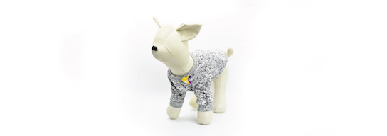 Gray dog sweater with the official TeletonUSA pin