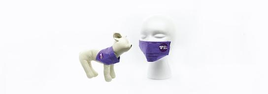 Set of purple face mask and dog bandana
