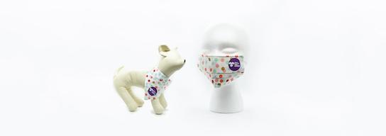 Set of face mask and dog bandana with dot pattern